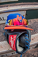 28 February 2019: A New York Mets cap, shades and glove lie on the steps of the dugout prior to a Spring Training game against the St. Louis Cardinals at Roger Dean Stadium in Jupiter, Florida. The Mets defeated the Cardinals 3-2 in Grapefruit League play. Mandatory Credit: Ed Wolfstein Photo *** RAW (NEF) Image File Available ***