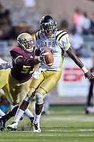 Arkansas Pine-Bluff's quarterback Benjamin Anderson (11) is sacked by Texas State defensive end Michael Odiari (55) during second half of NCAA Football game, Saturday, August 30, 2014 in San Marcos, Tex. Texas State defeated Arkansas Pine-Bluff 65-0 to win the season opener. (Mo Khursheed/TFV Media via AP Images)