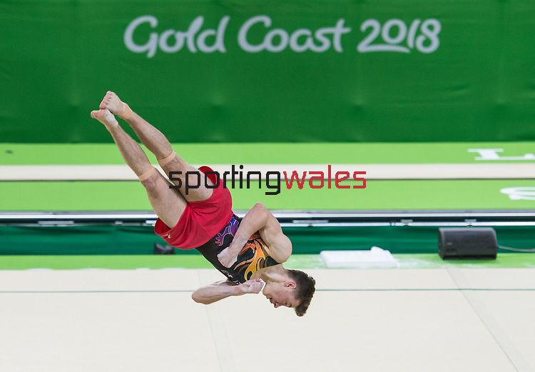 Wales Josh Cook in action during the Men's Individual All-round Final<br /> <br /> *This image must be credited to Ian Cook Sportingwales and can only be used in conjunction with this event only*<br /> <br /> 21st Commonwealth Games - Gymnastics  -  Day 3 - 07/04/2018 - Coomera Indoor Sports Centre - Gold Coast City - Australia