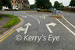 Road markings approaching the Mounthawk roundabout on the Ardfert to Tralee R551 road
