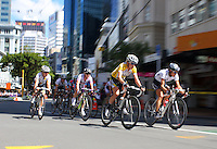 NZ's Catherine Cheatley (right) and HTC Highroad Women's Judith Arndt (second right) lead the peloton. NZCT Women's Cycling Tour of New Zealand Stage 6 - Criterium at Lambton Quay, Wellington, New Zealand on Sunday, 27 February 2011. Photo: Dave Lintott / lintottphoto.co.nz
