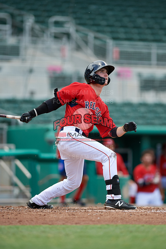 GCL Red Sox center fielder Caleb Ramsey (39) hits a foul ball during a game against the GCL Rays on August 1, 2018 at JetBlue Park in Fort Myers, Florida.  GCL Red Sox defeated GCL Rays 5-1 in a rain shortened game.  (Mike Janes/Four Seam Images)