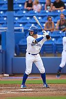 Dunedin Blue Jays Ryan Sloniger (24) bats during a game against the Bradenton Marauders on June 5, 2021 at TD Ballpark in Dunedin, Florida.  (Mike Janes/Four Seam Images)