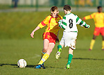 Jamie Roche of Avenue United in action against Oliver Dunne of Knocklyon FC during their SFAI game at Lisdoonvarna. Photograph by John Kelly.