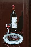 Europe/France/Aquitaine/33/Gironde/Bordeaux: Enseigne restaurant, quai du Bacalan, entrecote bordelaise et bouteille de vin rouge