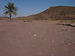 View towards the Atlas Mountains from the semi desert near Quarzazate in Morocco.