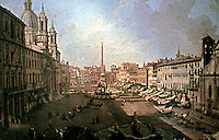 A print of Piazza Navona In Rome, by Bernardo Bellotto (1720-1780) 18th century. Historical reference.