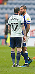 03.10.20 - Blackburn Rovers v Cardiff City - Sky Bet Championship - Lee Tomlin of Cardiff walks off having received a 2nd yellow and pushes Bradley Johnson of Blackburn Rovers…who then retaliates