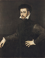 TINTORETTO, Jacopo Robusti, called Il (1518-1594). Portrait of a Gentleman. ca. 1554. Oil on canvas attached onto wood. Renais