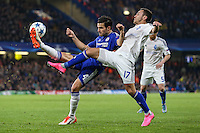 Cesc Fabregas of Chelsea and Serhiy Rybalka of Dynamo Kyiv battle for the ball during the UEFA Champions League Group match between Chelsea and Dynamo Kyiv at Stamford Bridge, London, England on 4 November 2015. Photo by David Horn.