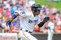 Wisconsin Timber Rattlers second baseman Darren Seferina (9) runs to first base during a Midwest League game against the Bowling Green Hot Rods on July 22, 2018 at Fox Cities Stadium in Appleton, Wisconsin. Bowling Green defeated Wisconsin 10-5. (Brad Krause/Four Seam Images)