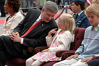Ottawa (ON) CANADA, July 1st, 2007 -<br /> <br /> Michaelle Jean  ;  Governor General (L) and<br /> Stephen Harper, Prime Minister of canada (R)  his daughter Rachel and son Benjamin , <br />  during<br /> Canada day celebration in the national capital.<br /> photo : (c)  Michel Karpoff - Images Distribution