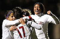 STANFORD, CA:  Teresa Noyola, Camille Levin, and Mariah Nogueria celebrate Lindsay Taylor's (17) in during Stanford's 5-0 victory over Florida State at Stanford, California on November 26, 2010.