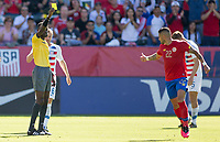 CARSON, CA - FEBRUARY 1: Ronald Matarrita #22 of Costa Rica is shown a yellow card during a game between Costa Rica and USMNT at Dignity Health Sports Park on February 1, 2020 in Carson, California.