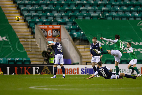 15th November 2020; Easter Road, Edinburgh, Scotland; Scottish League Cup Football, Hibernian versus Dundee FC; Stevie Mallan of Hibernian scores the opening goal to put his side 1-0 ahead in the 9th minute