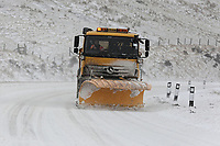 WEATHER PICTURE WALES<br /> Pictured: A snow plough clears snow on the A470 road in Storey Arms, Brecon Beacons in south Wales, UK. Friday 02 March 2018<br /> Re: Beast from the East and Storm Emma has been affecting most parts of the UK.