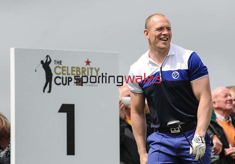 England's Mike Tindall is all smiles on the 1st tee..Celebrity Cup at Golf Live  - Celtic Manor Resort - Friday 10th  May  2013 - Newport ..© www.sportingwales.com- PLEASE CREDIT IAN COOK