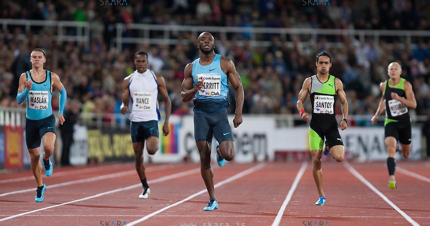MERRITT Lashawn runs the last few meters in the 400m run at the IAAF Diamond League meeting in Stockholm.
