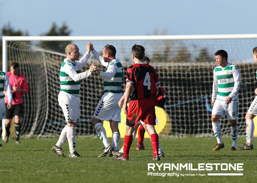 FAI Junior Cup Quarter Final.<br /> Peake Villa v Sheriff YC<br /> Tower Grounds,<br /> Thurles, Co Tipperary<br /> Sunday 12th March 2017<br /> Sheriff YC players celebrate at the end of the game.<br /> Photo Credit: Michael P Ryan