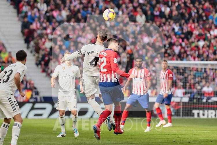 Atletico de Madrid's Sergio Ramos and Real Madrid's Alvaro Morata during La Liga match between Atletico de Madrid and Real Madrid at Wanda Metropolitano Stadium in Madrid, Spain. February 09, 2019. (ALTERPHOTOS/A. Perez Meca)