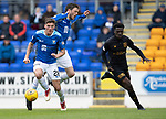 St Johnstone v Livingston….04.05.19      McDiarmid Park        SPFL<br />Ross Callachan and Murray Davidson get the better of Steven Lawson<br />Picture by Graeme Hart. <br />Copyright Perthshire Picture Agency<br />Tel: 01738 623350  Mobile: 07990 594431