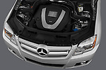 High angle engine detail of a 2010 Mercedes GLK Class 350.