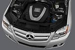 High angle engine detail of a 2010 Mercedes GLK Class 350.