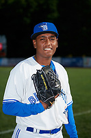 Bluefield Blue Jays pitcher Nicolas Medina (26) poses for a photo before a game against the Bristol Pirates on July 26, 2018 at Bowen Field in Bluefield, Virginia.  Bristol defeated Bluefield 7-6.  (Mike Janes/Four Seam Images)