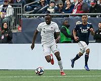Foxborough, Massachusetts - March 24, 2019: In a Major League Soccer (MLS) match, FC Cincinnati (white) defeated New England Revolution (blue/white), 2-0, at Gillette Stadium.