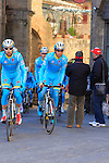Astana team riders make their way to sign on before the start of the 2015 Strade Bianche Eroica Pro cycle race 200km over the white gravel roads from San Gimignano to Siena, Tuscany, Italy. 7th March 2015<br /> Photo: Eoin Clarke www.newsfile.ie