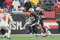 FOXBOROUGH, MA - OCTOBER 27: New England Patriots Runningback Brandon Bolden #38 on the kick return with New England Patriots Defensive back Terrence Brooks #25 preparing to block during a game between Cleveland Browns and New Enlgand Patriots at Gillettes on October 27, 2019 in Foxborough, Massachusetts.