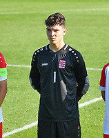 goalkeeper Tiago Pereira Cardoso (1) of Luxemburg pictured during a soccer game between the national teams Under17 Youth teams of  Norway and Luxemburg on day 2 in the Qualifying round in group 3 on saturday 9 th of October 2020  in Tubize , Belgium . PHOTO SPORTPIX   DAVID CATRY