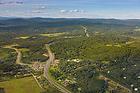 Aerial of the Steese highway and the intersection with Farmer's loop road, Fairbanks, Alaska