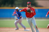 Philadelphia Phillies second baseman Nicolas Torres (19) throws to first base during an Instructional League game against the Toronto Blue Jays on September 27, 2019 at Englebert Complex in Dunedin, Florida.  (Mike Janes/Four Seam Images)