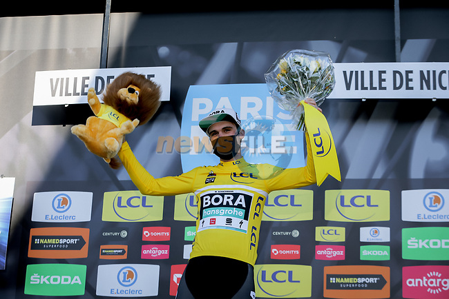 Maximilian Schachmann (GER) Bora-Hansgrohe wins Paris-Nice 2021 at the end of Stage 8 running 92.7km from Le Plan-du-Var to Levens, France. 14th March 2021.<br /> Picture: ASO/Fabien Boukla | Cyclefile<br /> <br /> All photos usage must carry mandatory copyright credit (© Cyclefile | ASO/Fabien Boukla)