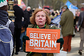 Believe in Britain.  Leave Means Leave.  Pro-Brexit protesters demonstrate outside the Houses of Parliament as MPs start five days of debate on the withdrawal agreement with the EU, Westminster, London.