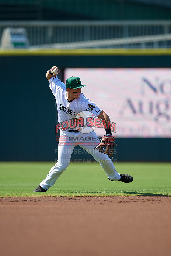 Augusta GreenJackets shortstop Shane Matheny (15) throws to first base during a South Atlantic League game against the Lexington Legends on April 30, 2019 at SRP Park in Augusta, Georgia.  Augusta defeated Lexington 5-1.  (Mike Janes/Four Seam Images)