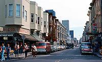 San Francisco:  North Beach--looking down Grant to Columbus.  Photo '76.