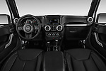 Stock photo of straight dashboard view of 2017 JEEP Wrangler-Unlimited Sahara 5 Door SUV Dashboard