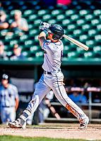 18 July 2018: New Hampshire Fisher Cats infielder Cavan Biggio hits a game-winning 2-run homer in the bottom of the 6th inning against the Trenton Thunder at Northeast Delta Dental Stadium in Manchester, NH. The Fisher Cats defeated the Thunder 3-2 in a 7-inning, second game of the day. Mandatory Credit: Ed Wolfstein Photo *** RAW (NEF) Image File Available ***