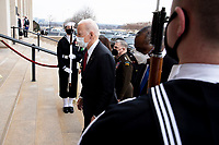 US President Joe Biden (L) arrives to deliver remarks to Department of Defense personnel, at the Pentagon in Arlington, Virginia, USA, 10 February 2021.<br /> CAP/MPI/RS<br /> ©RS/MPI/Capital Pictures