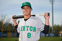 Clinton LumberKings second baseman Bryson Brigman (8) poses for a photo before a game against the West Michigan Whitecaps on May 3, 2017 at Fifth Third Ballpark in Comstock Park, Michigan.  West Michigan defeated Clinton 3-2.  (Mike Janes/Four Seam Images)