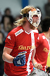 Mannheim, Germany, January 24: During the 1. Bundesliga Herren Hallensaison 2014/15 quarter-final hockey match between Mannheimer HC (white) and Club an der Alster (red) on January 24, 2015 at Irma-Roechling-Halle in Mannheim, Germany. Final score 2-3 (1-2). (Photo by Dirk Markgraf / www.265-images.com) *** Local caption *** Julian Hofmann-Jeckel #24 of Club an der Alster