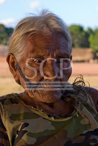 Pará State, Brazil. Aldeia Kikretum. Maria Kayapó, Cacique Tuto Pombo's widow.