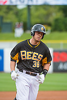 C.J. Cron (38) of the Salt Lake Bees in action against the Oklahoma City Dodgers in Pacific Coast League action at Smith's Ballpark on May 27, 2015 in Salt Lake City, Utah.  (Stephen Smith/Four Seam Images)