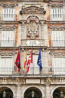 The Plaza Mayor, the central plaza in the city of Madrid, Spain