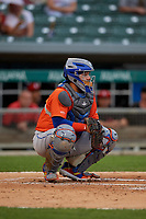 Syracuse Mets catcher Rene Rivera (44) during an International League game against the Indianapolis Indians on July 16, 2019 at Victory Field in Indianapolis, Indiana.  Syracuse defeated Indianapolis 5-2  (Mike Janes/Four Seam Images)
