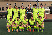 Alston, Massachusetts - April 24, 2016:  Seattle Reign FC (yellow) beat the Boston Breakers (blue) 3-0 in a National Women's Soccer League (NWSL) match at Jordan Field.