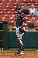 Gwinnett Braves catcher Christian Bethancourt (27) looks to the dugout during a game against the Buffalo Bisons on May 13, 2014 at Coca-Cola Field in Buffalo, New  York.  Gwinnett defeated Buffalo 3-2.  (Mike Janes/Four Seam Images)
