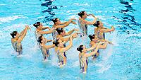 CALLEGARI Beatrice CAVANNA Domiziana<br /> CERRUTI Linda DEIDDA Francesca<br /> di CAMILLO C. FERRO Costanza<br /> GALLI Gemma PEZONE Alessia<br /> PICCOLI Enrica SALA Federica<br /> Gwangju South Korea 18/07/2019<br /> Artistic Swimming Free Combination Preliminaries<br /> 18th FINA World Aquatics Championships<br /> Yeomju Gymnasium <br /> Photo © Giorgio Scala / Deepbluemedia / Insidefoto